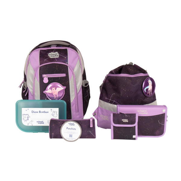 School Mood Loop Air Plus Schulrucksack Set Stella Motiv Einhorn, berry
