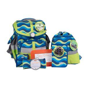 Schulranzenset School Mood TimelessAir Malte, Motiv Schlange, Spinne, blue-neon-green