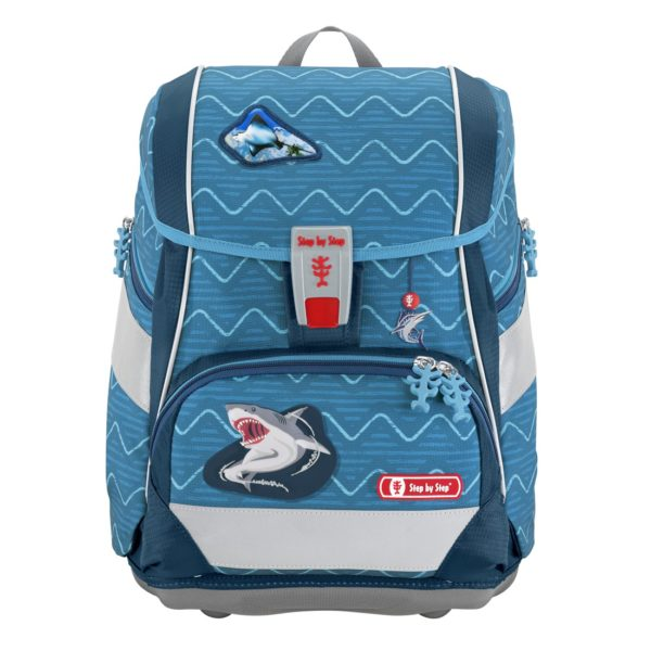 """Step by Step 2IN1 PLUS Schulranzen-Set """"Angry Shark"""", blue"""