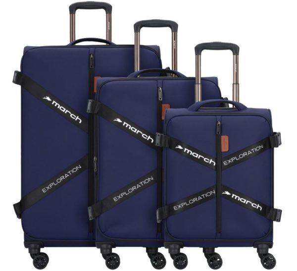 3-teiliges Kofferset softshell, Exploration, dark-blue