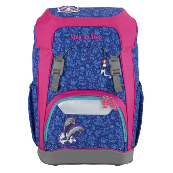 """Step by Step GIANT Schulrucksack-Set """"Happy Dolphins"""", blue-pink"""